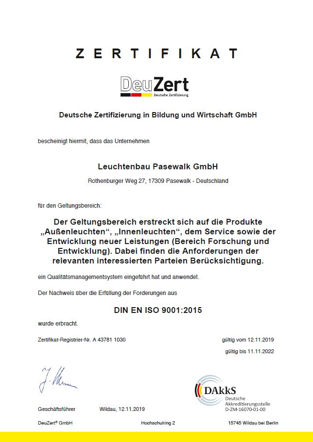 Zertifikat 9001:2015 Leuchtenbau Pasewalk